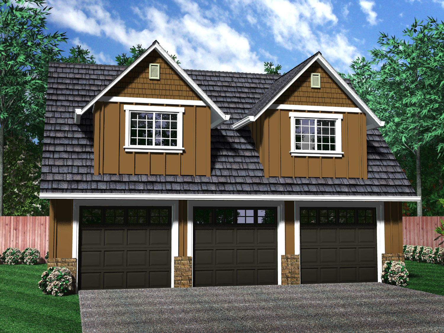 Detached garages for One level house plans with 3 car garage