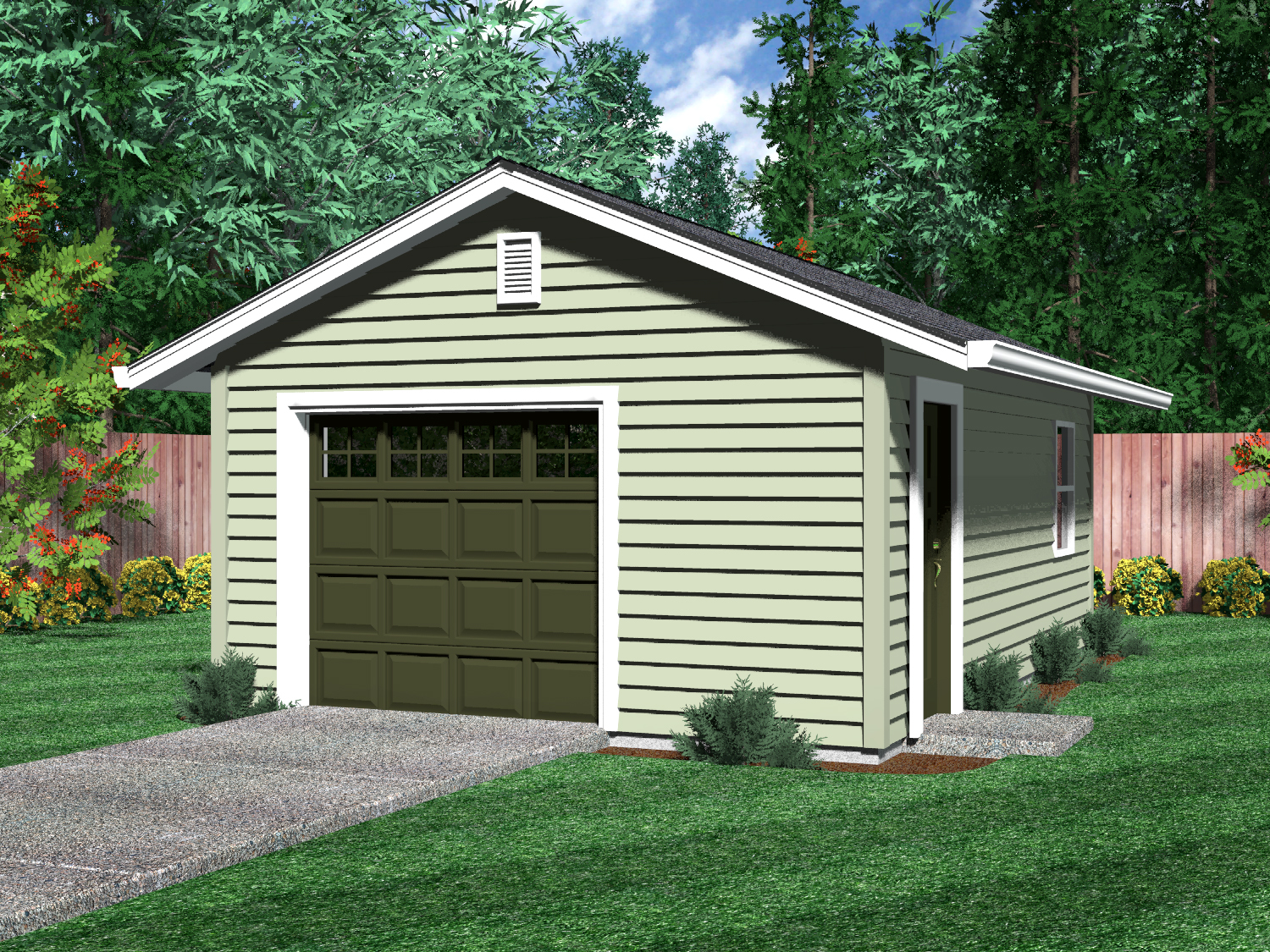 Detached garages for One car garage with carport