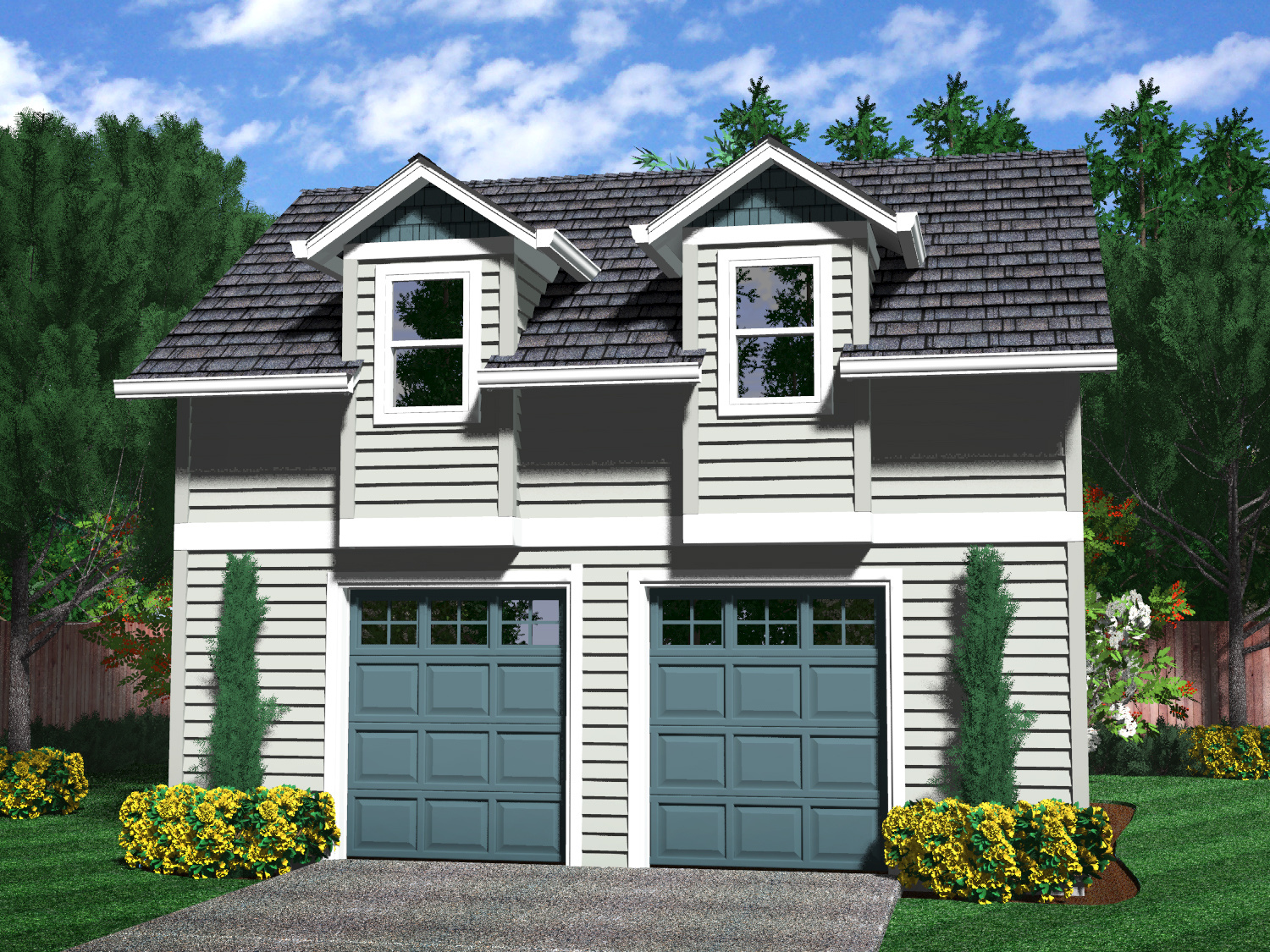 Detached garages for 2 car garage house plans