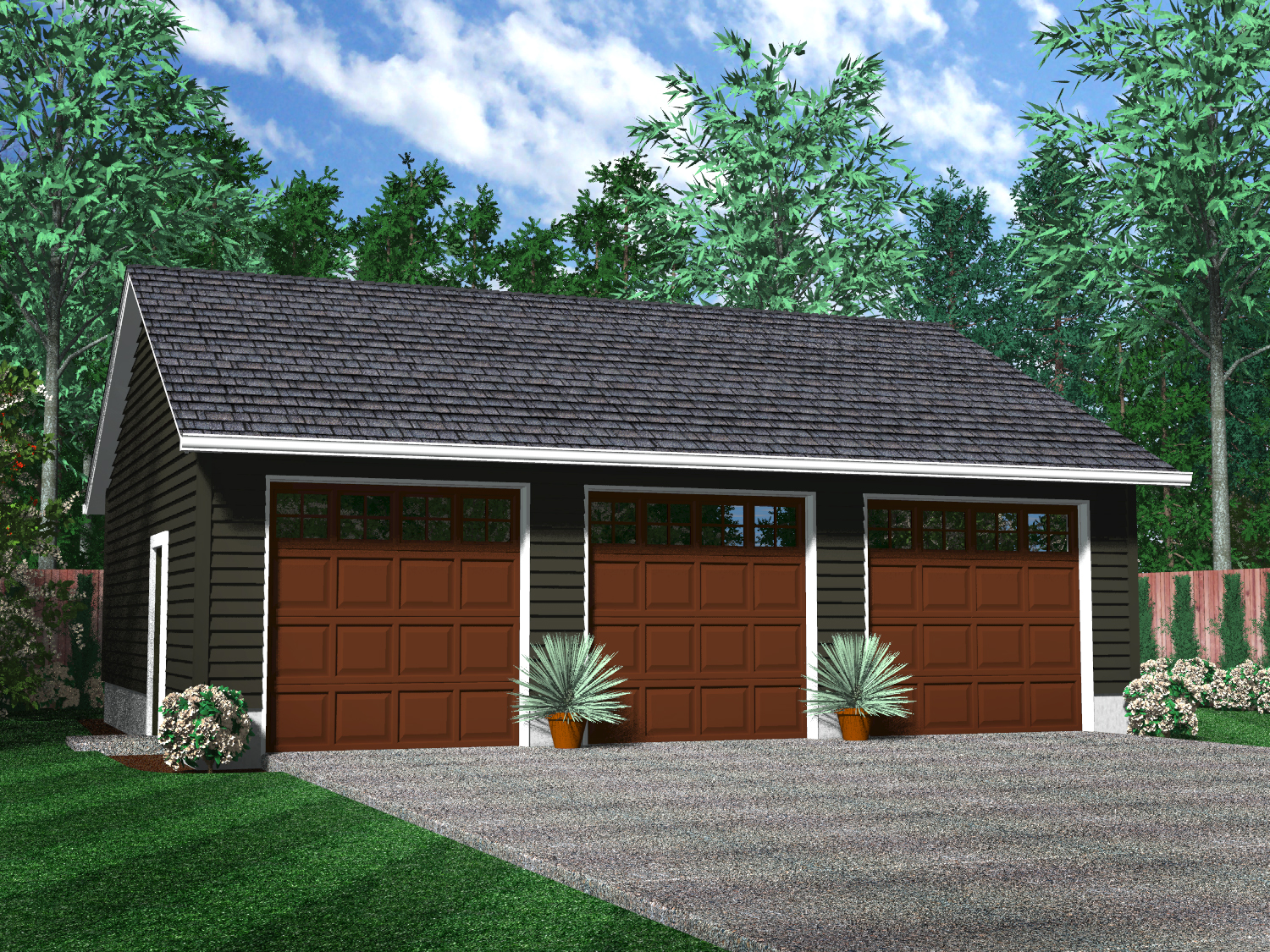 Detached garages Triple car garage house plans